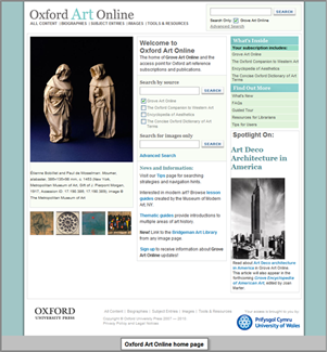 Oxford Art Online User Guide - University of Wales