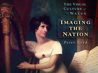 Picture of a lady with a harp with the title 'The Visual Culture of Wales: Imaging the Nation'