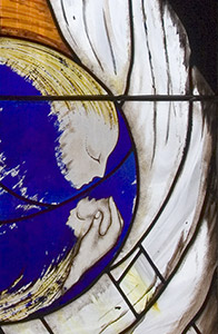 Catrin Jones, Annunciation and Holy Family, 1983, detail, Priory Church of St David, Swansea